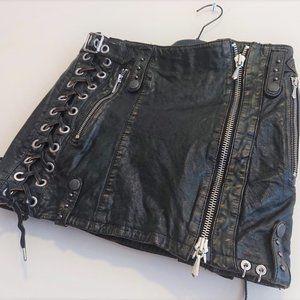 Diesel Leather Short Skirt Pink Inner Women 27 XS